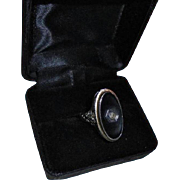 Art Deco 14K Gold Diamond Onyx White Gold Ring Size 5 3/4
