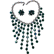 Dazzling Green Faceted Crystal Draping Bib Necklace Earrings Set