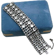 High End Runway Rhodium Plated Rhinestone Baguette 6 Row Bracelet