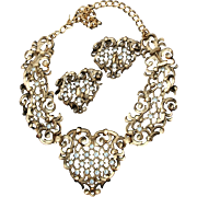 Hearts! Jose Marie Barrera Couture Rhinestone Bib Necklace Earrings Set
