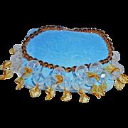 Rare 1930s Brown Peking Glass Clear Bauble Festoon Necklace Autumn Colors