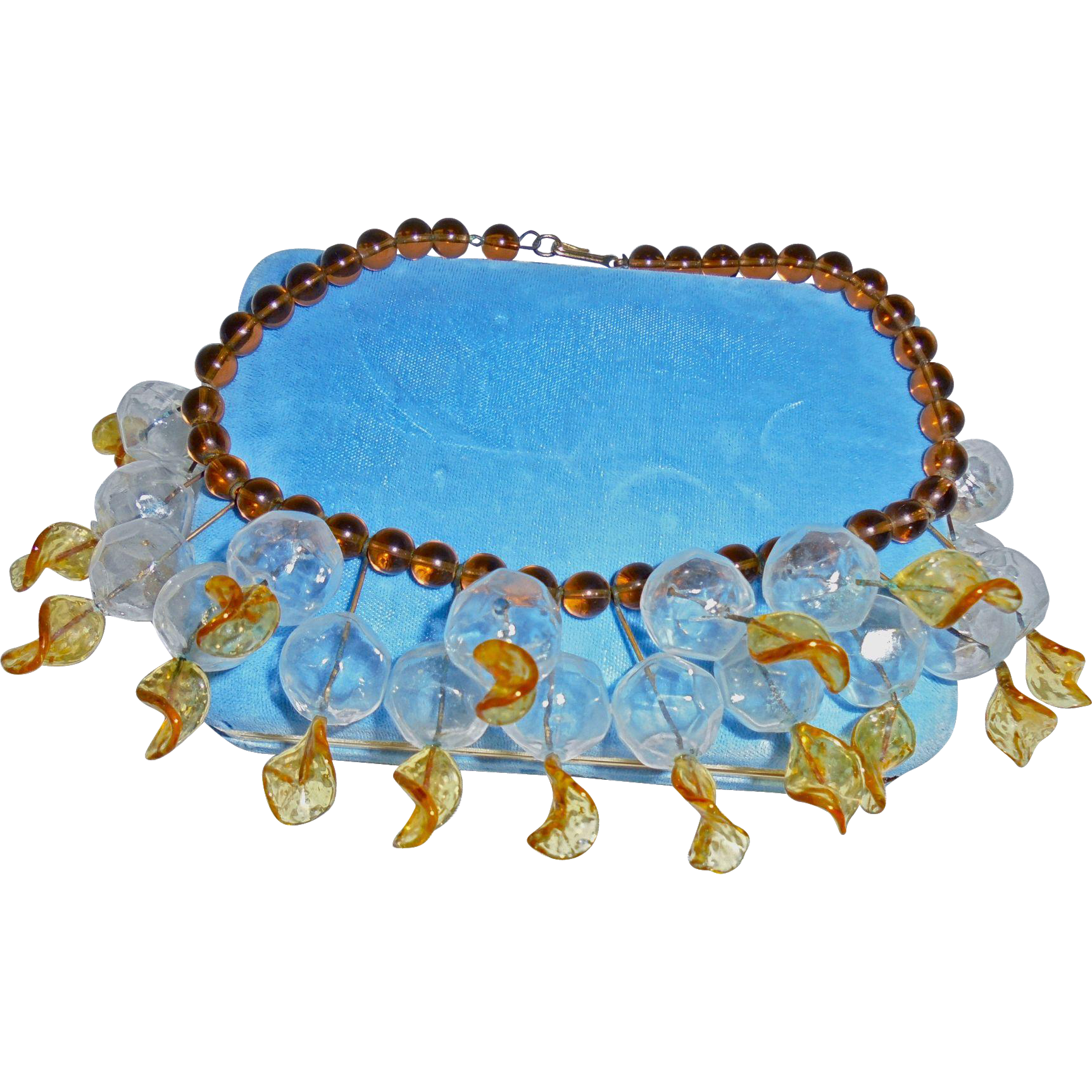Rare 1930s Brown Peking Glass Clear Bauble Festoon Necklace