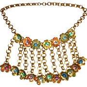 Rare 1930s Miriam Haskell Book Chain Floral Bib Necklace