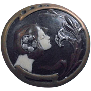 Art Nouveau Sterling Enamel Nymph Portrait Brooch