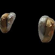 14K Gold Two-tone Etched Star Motiff Pierced Earrings