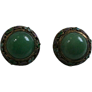 Early 1900 Jade & Enamel Chinese Clip Earrings