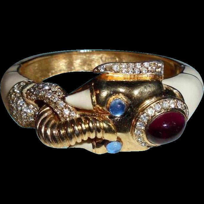 Reserved Rare Ciner Moghul Elephant Clamper Bracelet From Randomharvest On Ruby Lane