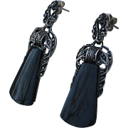 Elegant 925 Onyx Marcasite Drop Earrings Sterling Silver