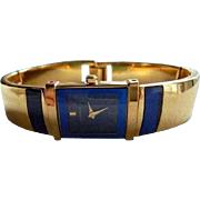 Lassale Blue Sapphire Crystal Bracelet Watch 23K Gold-Plated Seiko