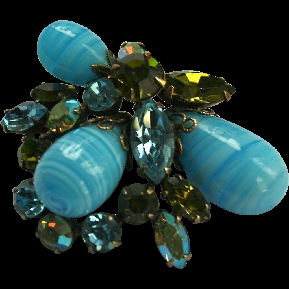 Gorgeous Regency Blue Art Glass Peridot Green Rhinestone Brooch From Randomharvest On Ruby Lane