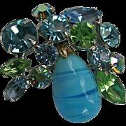 Dazzling Regency Pastel AB Blue & Peridot Green Art Glass & Rhinestone Brooch