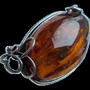 Massive 50 Gram Baltic Amber Sterling Silver Brooch