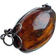 Massive 50 Gram Baltic Amber Sterling Silver Brooch
