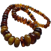 Massive Antique Baltic Amber & Butterscotch Egg Yolk Amber Beaded Necklace