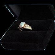 10K Gold Diamond & Fiery Opal Ring Size 6.25