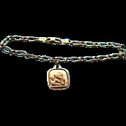 14K Italy Angel / Cupid Unoaerre Single Charm Bracelet