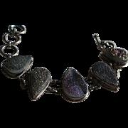 Sterling Silver & Druzy Chunky Link Bracelet