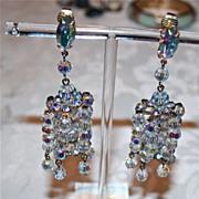 Spectacular Vintage Larry Vrba AB Cut Crystal Chadelier Earrings