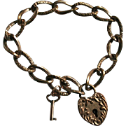 Antique Gold-Filled Heart Padlock Nigh & Day Repousse Bracelet with Key