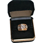 Triple Diamond Art Deco 14K Gold .35 TCW Chunky Small Ring Size 3.25