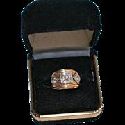 Triple Diamond Art Deco 14K Gold .35 TCW Chunky Small Ring Size 3.25