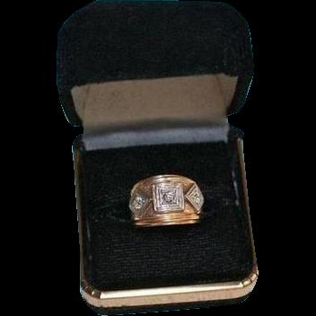Triple Diamond Art Deco 14k Gold 35 Tcw Chunky Small Ring Size From Randomharvest On Ruby Lane