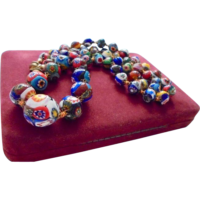 Res For L Rare Ventian Millefiori Glass Graduated Bead Necklace From Randomharvest On Ruby Lane