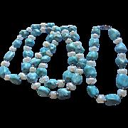 Sterling Turquoise Freshwater Pearl Necklace & Bracelet Set