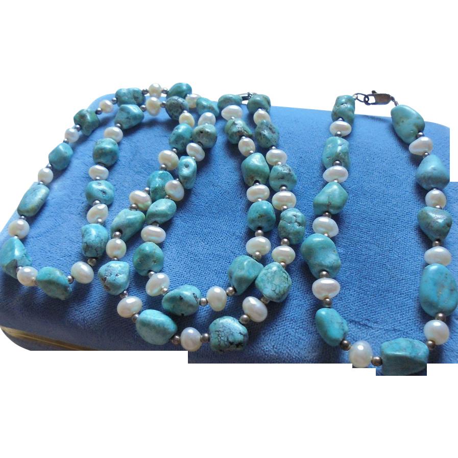 Sterling Turquoise Freshwater Pearl Necklace Bracelet Set From Randomharvest On Ruby Lane