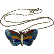 Sterling Silver Enamel Butterfly Pendant Necklace