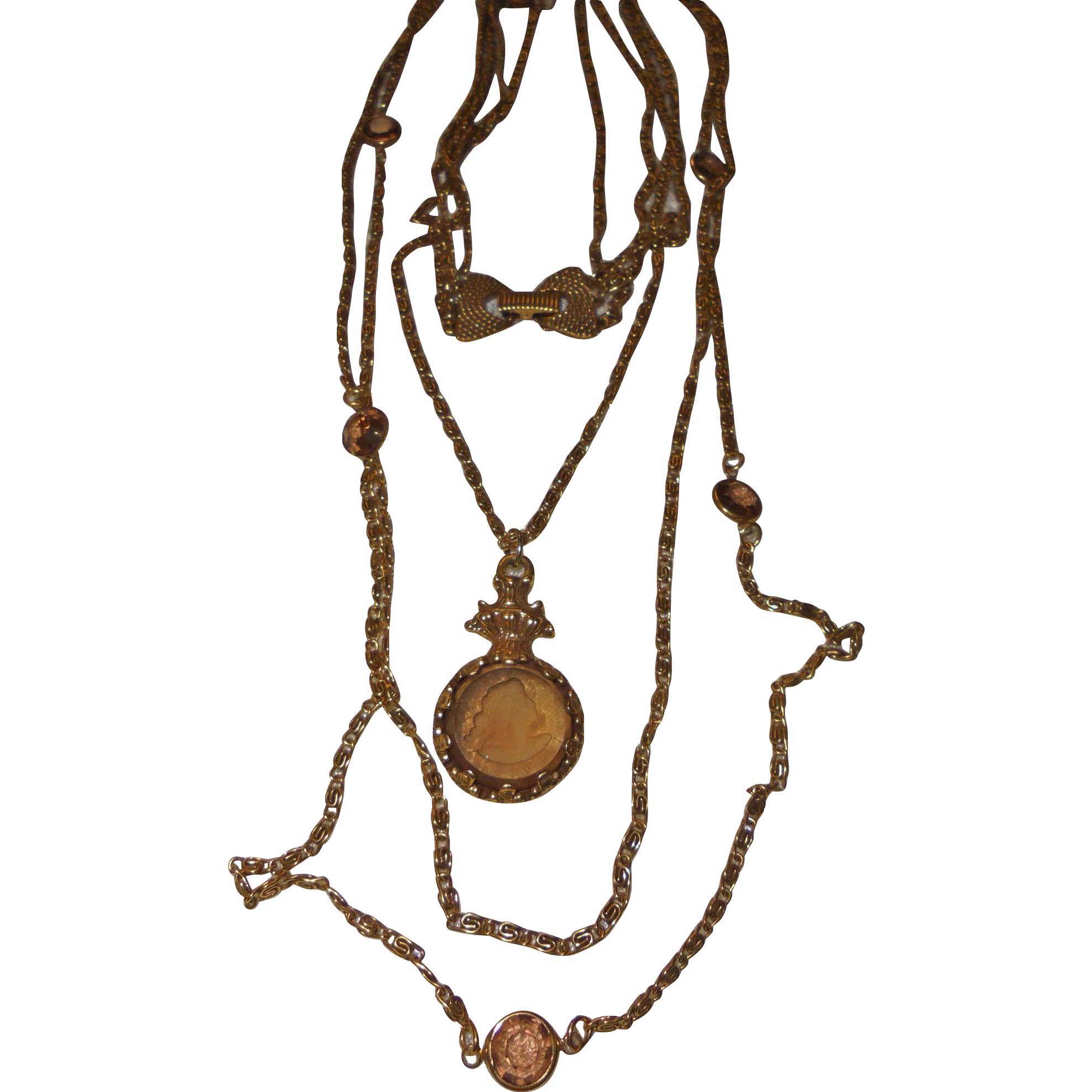Vintage Signed Goldette Draping Bib Intaglio Necklace