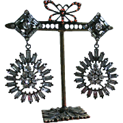 Dazzling Vintage Rhinestone Baguette Dangling Clip Earrings