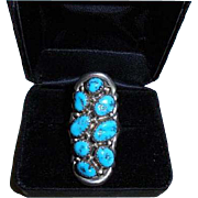 Navajo Signed Wnez Sterling Turquoise Elongated Ring Size 6.5