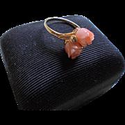 14K Angel Skin Coral Roses & Diamond Ring Size 5.5