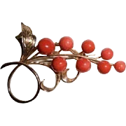 Large 14K Natural Coral Autumn Berries & Leaves Brooch