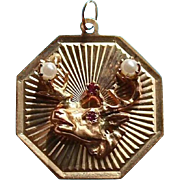 Rare Elks 14K Gold Ruby & Pearl Pendant Charm Fob