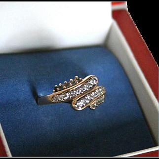 14K Gold Diamond & Blue Topaz Ring Modernist Mid-Century