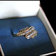 14K Gold Diamond & Aquamarine Ring Modernist Mid-Century