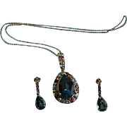 Reserved for R **  14K Gold London Blue Topaz Gemstone Pendant Necklace & Earrings Set