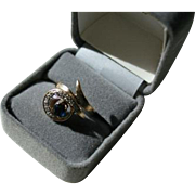 14K Genuine Sapphire & 10 Diamond Modernist Ring Size 6 1/2