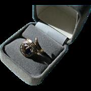 14K Genuine Sapphire & 10 Diamond Modernist Ring Size 6 1/2