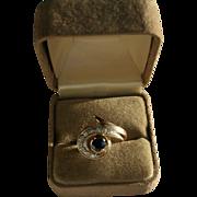 14K 10 Diamond & Sapphire Modernist Ring Size 6 1/2