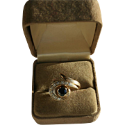 14K Diamond & Sapphire Modernist Ring Size 6 1/2 Ten Diamonds