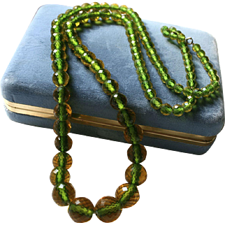 Rare Art Deco Era Cut Faceted Crystal Bi-Color Beaded Necklace