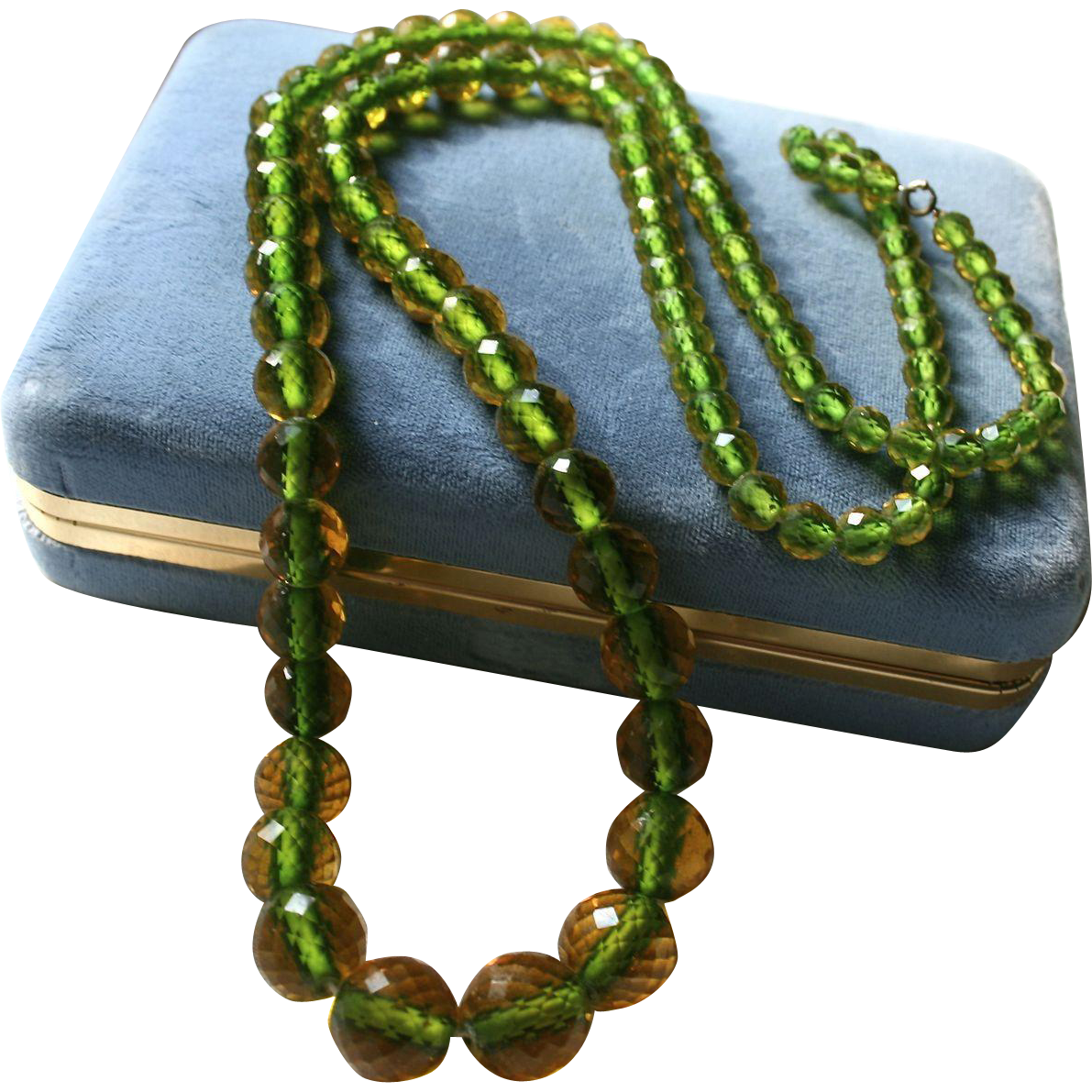 Rare Art Deco Era Cut Faceted Crystal Bi Color Beaded Necklace From Randomharvest On Ruby Lane