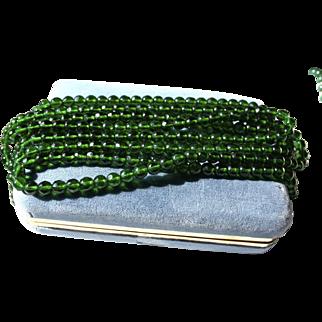 """60"""" inch Emerald Green Glass Czech Flapper Beaded Necklace"""