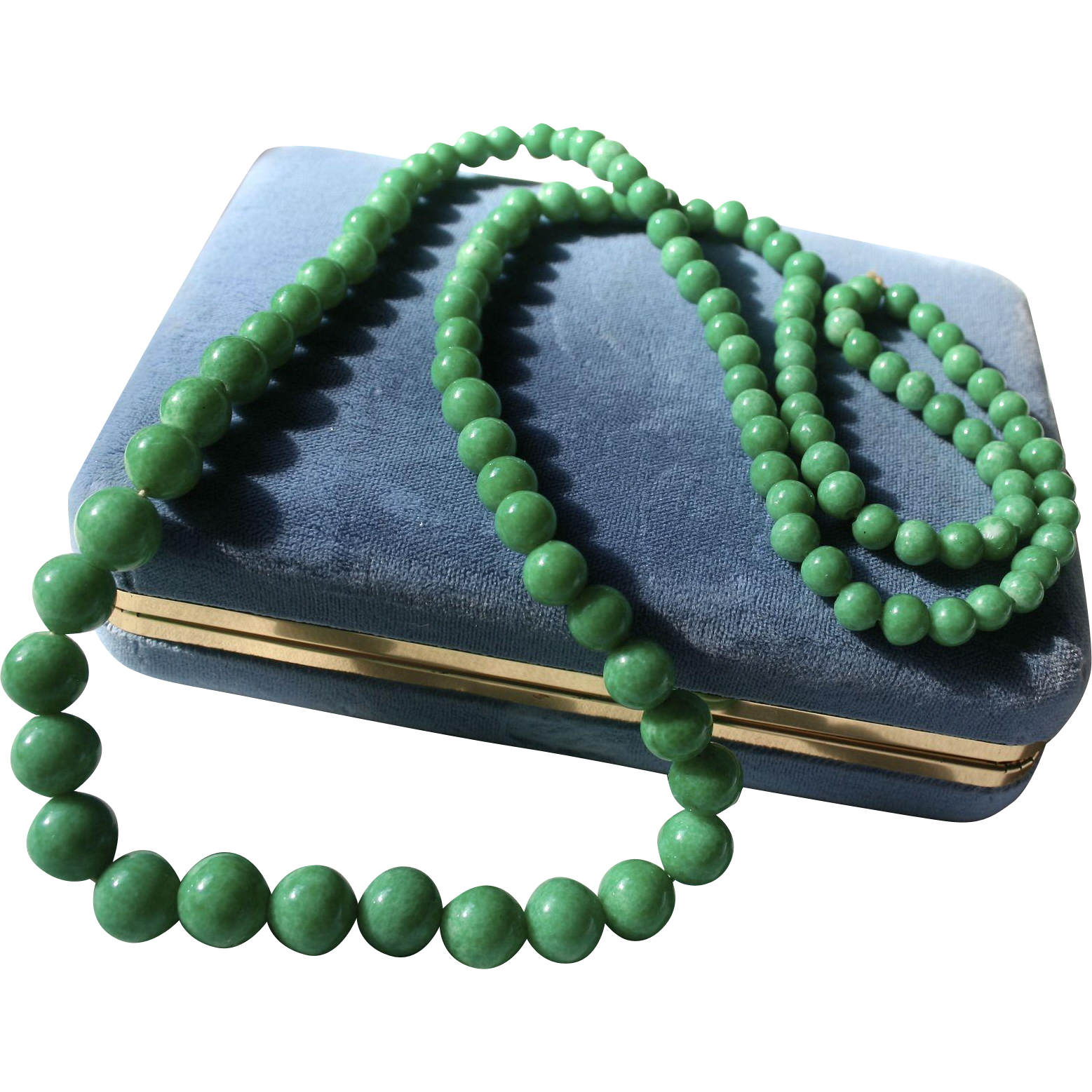 Gorgeous Peking Green Glass Graduated Beaded Necklace Random Harvest Ruby Lane
