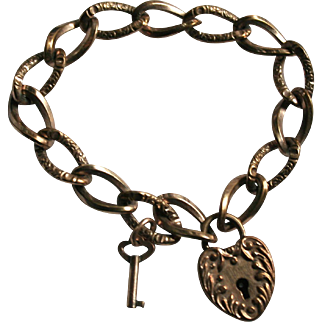 Antique Gold-Filled Heart Padlock Repousse Bracelet with Key