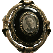 Antique Gold-Filled Onyx Swivel Large Portrait Brooch