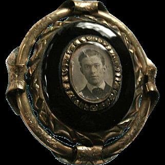 Antique Gold-Filled Onyx Swivel Large Portrait Brooch